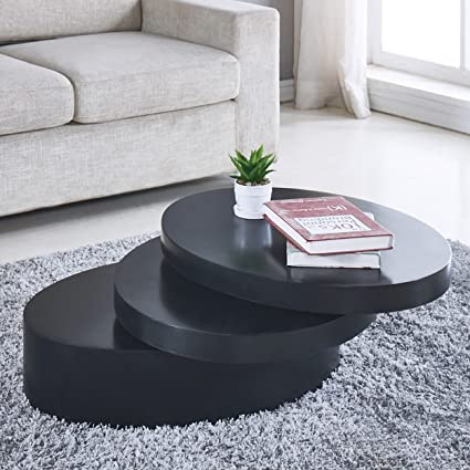 Pleasant Round Black Coffee Table Rotating Contemporary 3 Layers Living Room Furniture Cjindustries Chair Design For Home Cjindustriesco