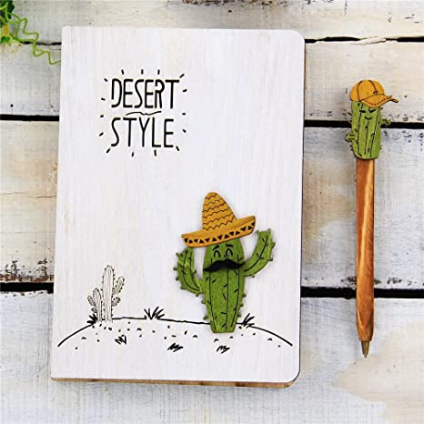 Cool Journals Fancy Bound Notebook Unique Blank Writing Sketchbook Gift With Cactus Pen