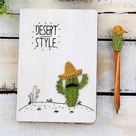 Amazon.com: Cute Cactus Journals - Cuaderno de madera con ...