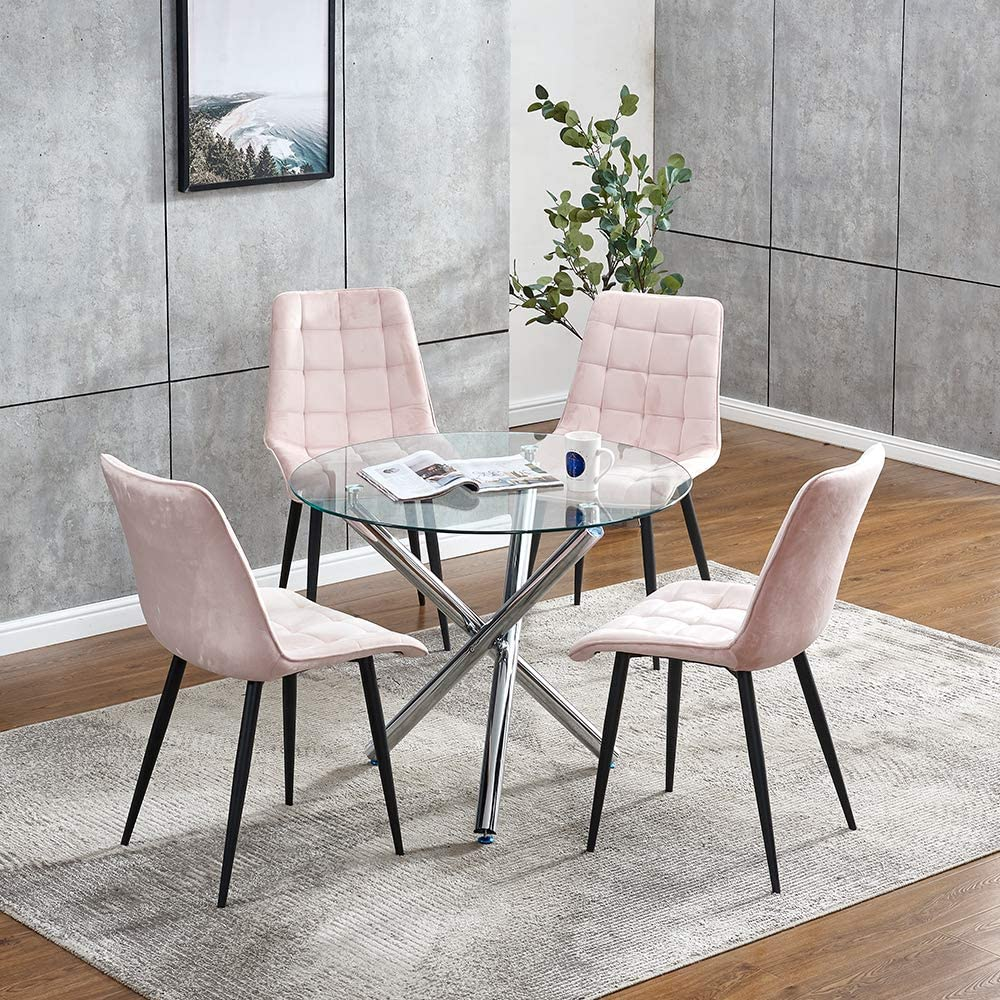 Round Glass Dining Table And 4 Pink Velvet Chairs Set For Small Space Dinette 5 Pieces Kitchen Set Clear Round Tempered Glass Table And Set Of 4 Occasional Chairs For Restaurant Party
