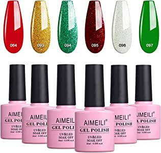 AIMEILI Soak Off UV LED Gel Nail Polish Christmas Set Multicolour/Mix Colour/Combo Colour Set Of 6pcs X 10ml - Kit Set 26