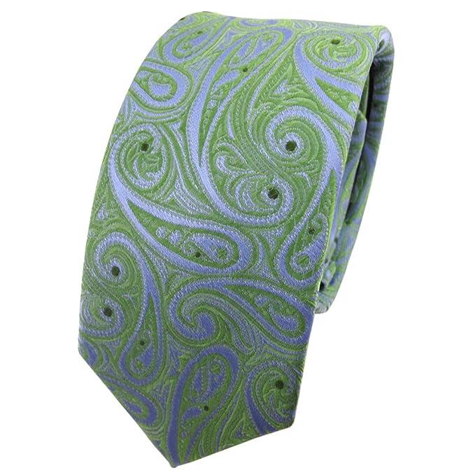 TigerTie - corbata de seda estrecha - verde mai-verde azul claro ...