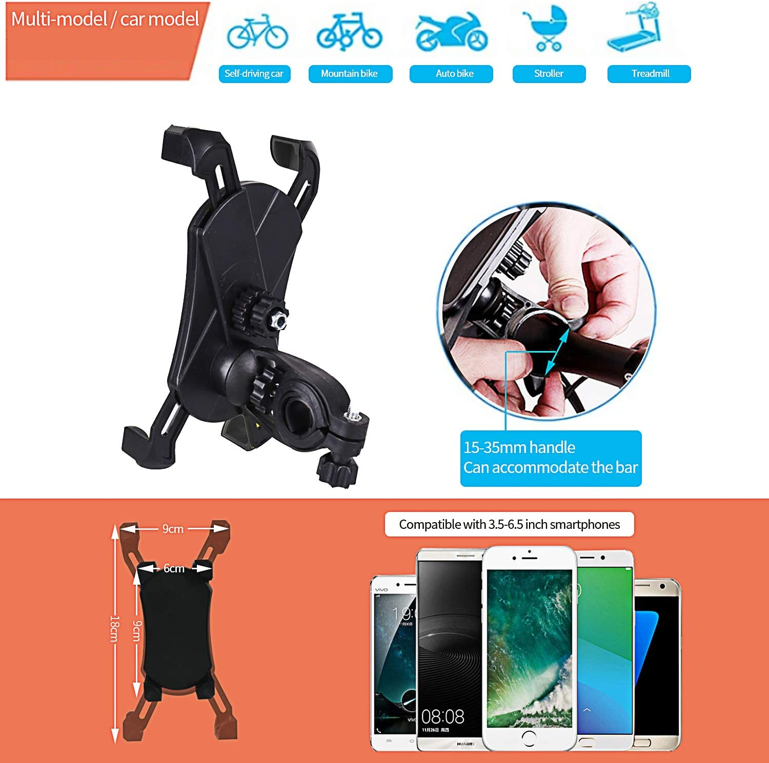 Mountain Bike Eagle Grab Mobile Phone Holder Bicycle Mobile Phone Holder Motorcycle Electric Car Universal Mobile Phone Navigation Stand Suitable for 3.5-6.5 Inch Mobile Phone.