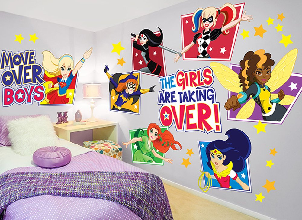 Amazoncom DC Super Hero Girls Wall Decal Set Home Kitchen - Superhero wall decals application