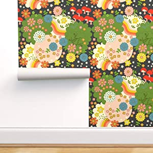 Spoonflower Pre-Pasted Removable Wallpaper, Psychedelic Flower Power Mushrooms Stars & Rainbows Retro Garden Flowers Vintage Kitschy Colorful Groovy Print, Water-Activated Wallpaper, 24in x 108in Roll