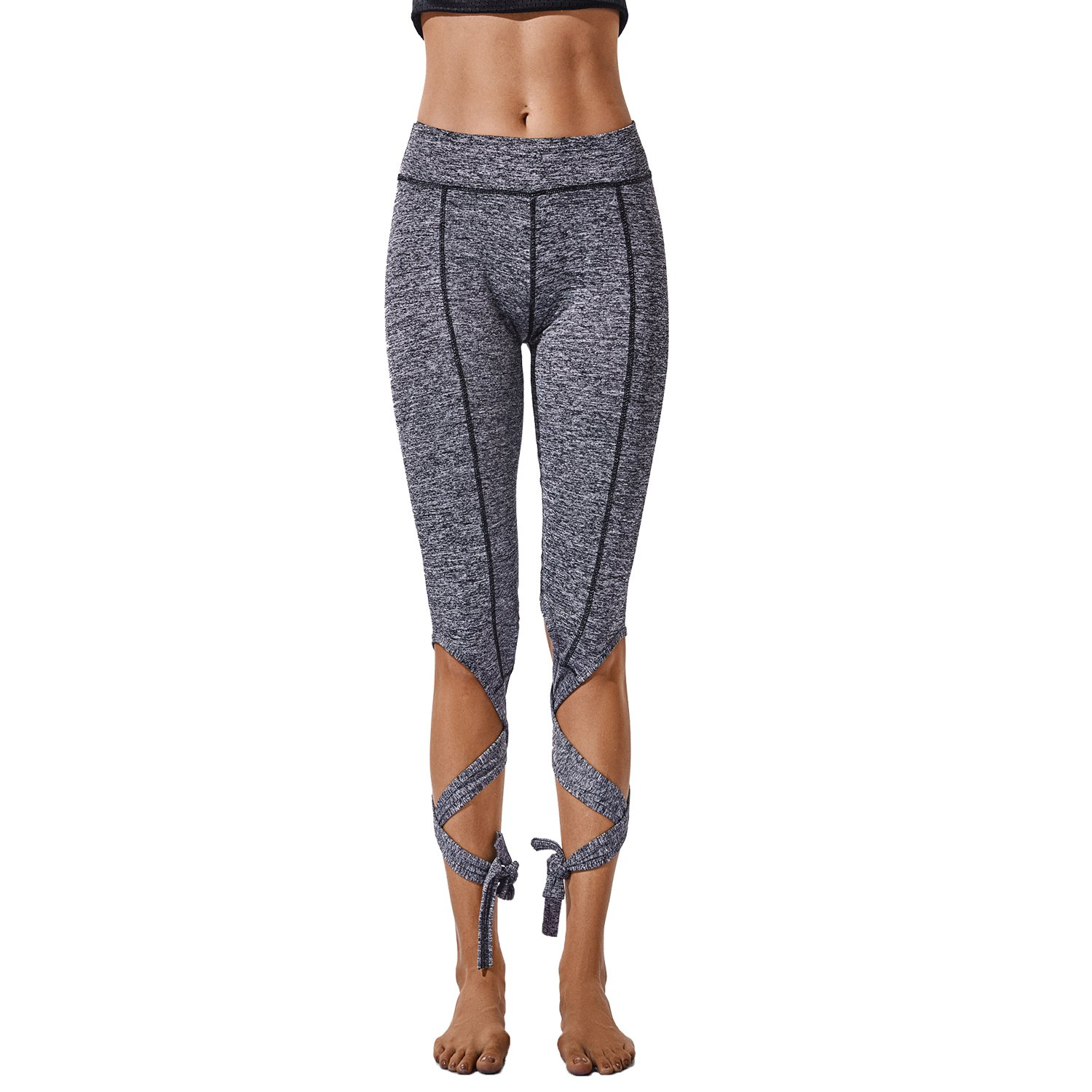 5620a1fb74473 Ballet Bandage Yoga Pants High Waist Lace up Sport Leggings Fitness Cross  Tight at Amazon Women's Clothing store: