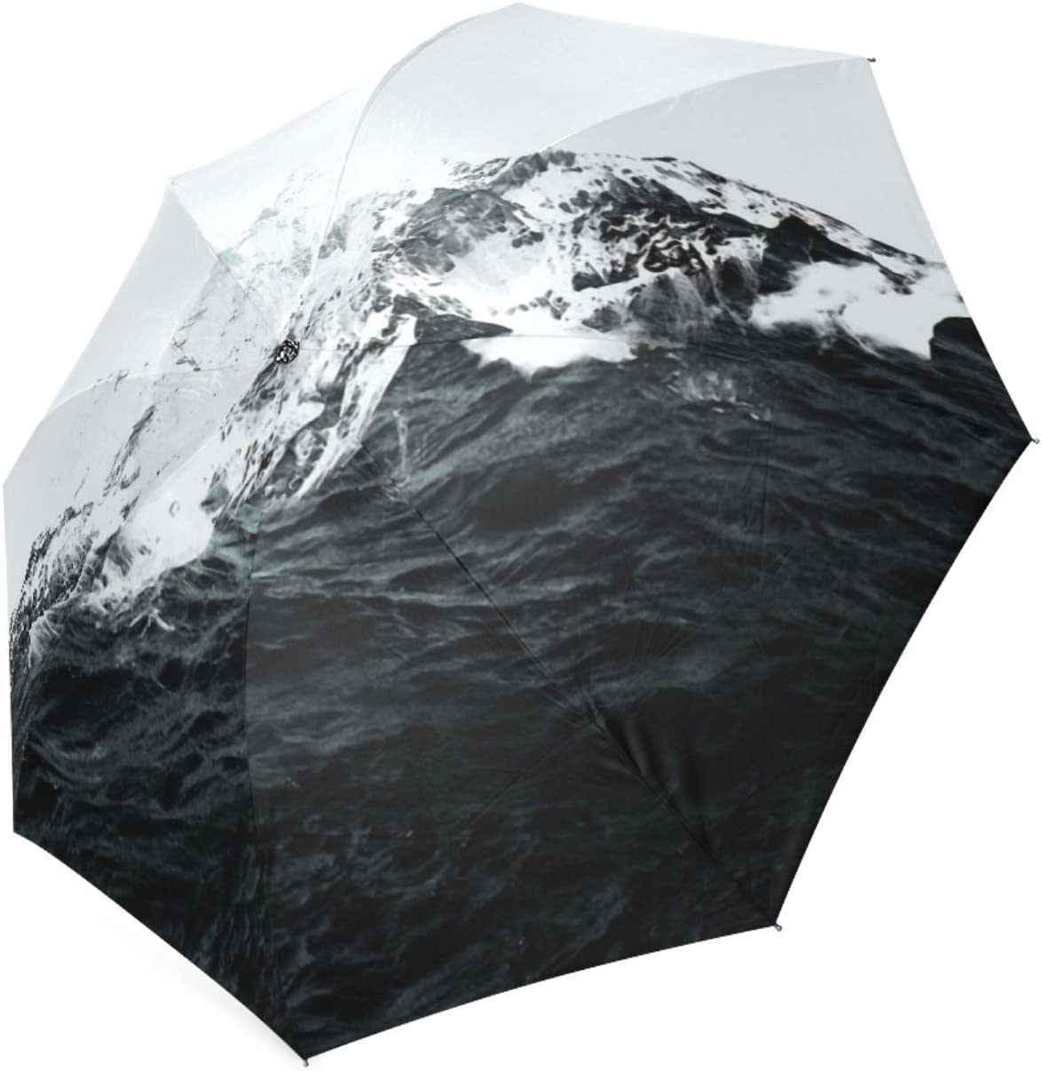 Personalized Those Waves Were Like Mountains Sun Rain Travel Umbrella Waterproof