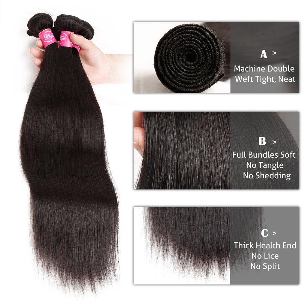 Mink 8A Brazilian Virgin Hair Straight Remy Human Hair 4 Bundles Deals (22'' 24'' 26'' 28'') 100% Unprocessed Brazilian Straight Hair Extensions Natural Color Weave Bundles by Grace Length Hair (Image #5)