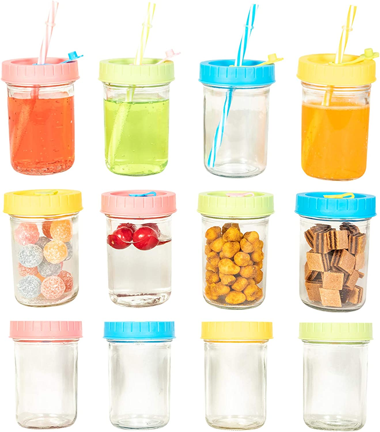 12pcs 8oz Mason Jar Food Storage Container Glass Drinking Bottle Regular Beverage Mouth with Lids Staws Clean Brush Reusable Leakproof Canning For Juice Snack