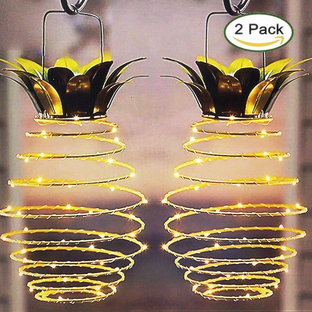 Ptwinners Lumens Hanging Solar Lights Outdoor Solar Lights Hanging Solar Lantern with Handle Pineapple,2 Pack by Ptwinners
