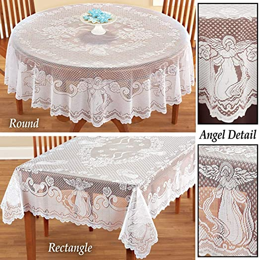 Vintage White Tablecloth Rectangle Round Lace Table Cloth Cover Party Wedding
