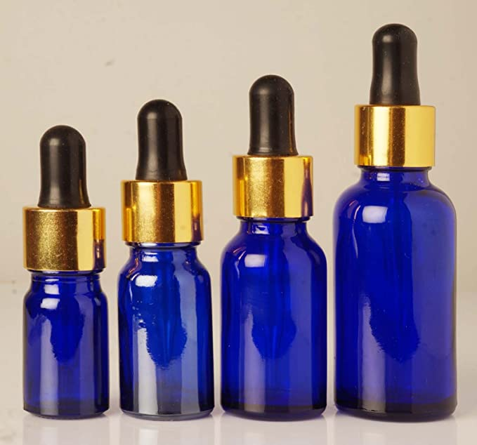 lote 6 azul cobalto colirio botellas de vidrio vacías boston botella redonda gota recargable 50 ml de aceites esenciales botellas mayoristas pipetas: ...