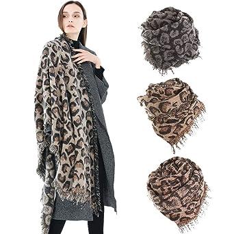 Femmes hiver épais léopard gland cachemire doux long foulard châle  enveloppe Grand Tartan Echarpe Châle Mode 51da4122c3b