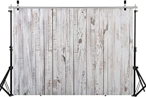 WOLADA 7X5FT Vintage Wood Backdrop Retro Rustic White Gray Wooden Floor Backdrops for Photography Kids Adult Photo Booth Video Shoot Vinyl Studio Prop 11890