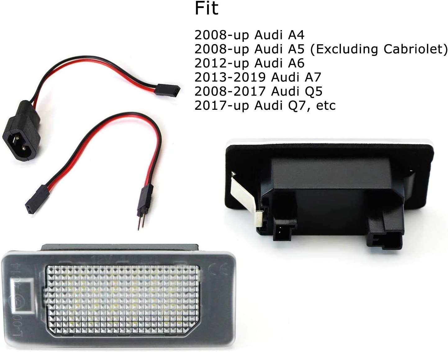 iJDMTOY OEM-Fit 3W Full LED License Plate Light Kit Compatible With A4 A5 A6 A7 S4 S5 S6 S7 RS4 RS5 RS7 Q5 Q7 Powered by 24-SMD Xenon White LED /& CAN-bus Error Free