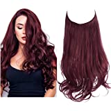 Red Hair Extension Wine Red Curly Long Synthetic Halo Hairpiece Hidden Wire Headband 18 Inch 4.2 Oz for Women Heat…