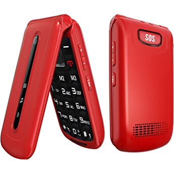 Ushining Unlocked Flip Phone 3g Dual Sim Card 2 4 Flip Cell Phones Unlocked Sos Button Easy To Use Mobile Phone For Elderly Kids Red Amazon Sg Electronics