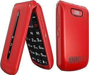 Ushining Flip Phone Unlocked 3G SOS Button Tmobile Flip Phone Dual SIM Card Slots Basic Cell Phones Large Button Large Volume for Senior & Kids (Red)