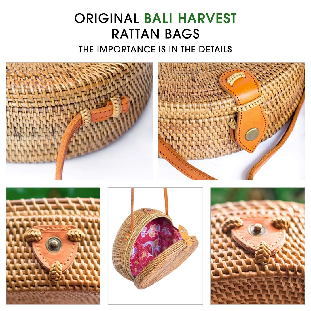 Bali Harvest Round Woven Ata Rattan Bag Linen Inside and Leather Button  (with Genuine Leather Strap)  Handbags  Amazon.com 6e57eb1c9f62c