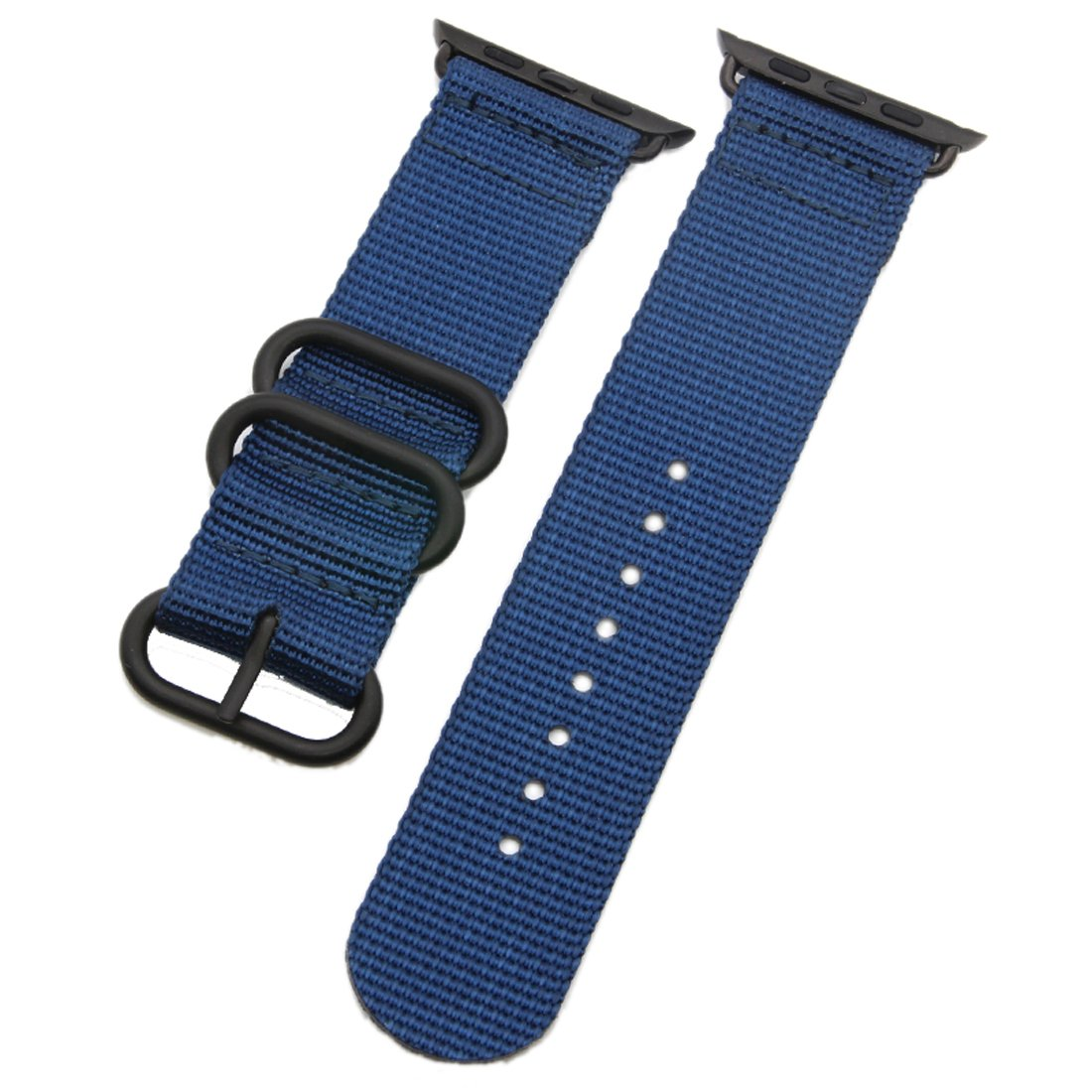 Top Grade Superior Soft Nato style Ballistic Nylon Watch Band Strap Replacement for iWatch Blue 38mm