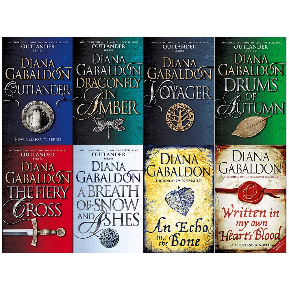 Diana Gabaldon Outlander Series 8 Books Collection Set (Outlander,Dragonfly in Amber,Voyager,Drums of Autumn,Fiery Cross,Breath of Snow and Ashes,An Echo in the Bone,Written in My Own Hearts Blood) by Arrow