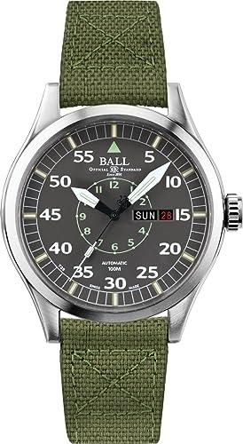 Bola Ingeniero Maestro II Aviator Reloj automático Gris Dial Verde Lona Correa Corona de Rosca nm1080 C-n5j-gy: Amazon.es: Relojes