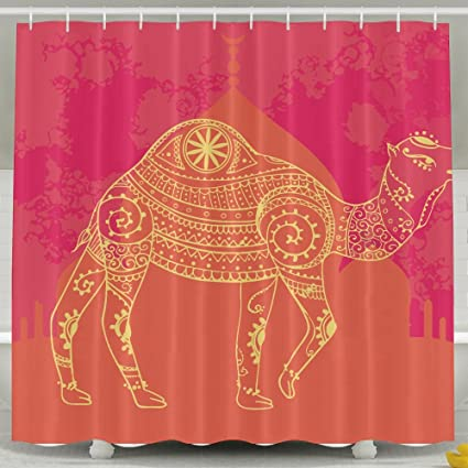 Greeting Beautiful Card Camel Shower Curtain Repellent Fabric Mildew Resistant Machine Washable Bathroom Anti Bacterial