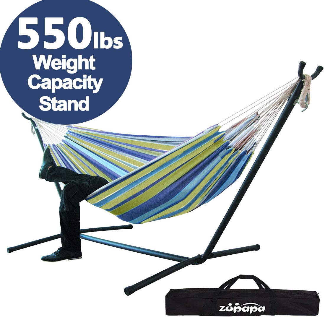 Zupapa Double Hammock with Stand and Carrying Case, Accommodates 2 People, 550 Pound Capacity Portable Perfect for Garden, Deck, Yard - (Oasis Stripe)
