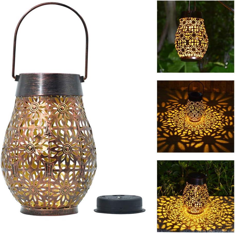 Shengming Daisy Design Solar Super Big & Bright Lantern Hanging Garden Outdoor Lights Metal Waterproof LED Table Lamp Decorative (Oval Shape) l