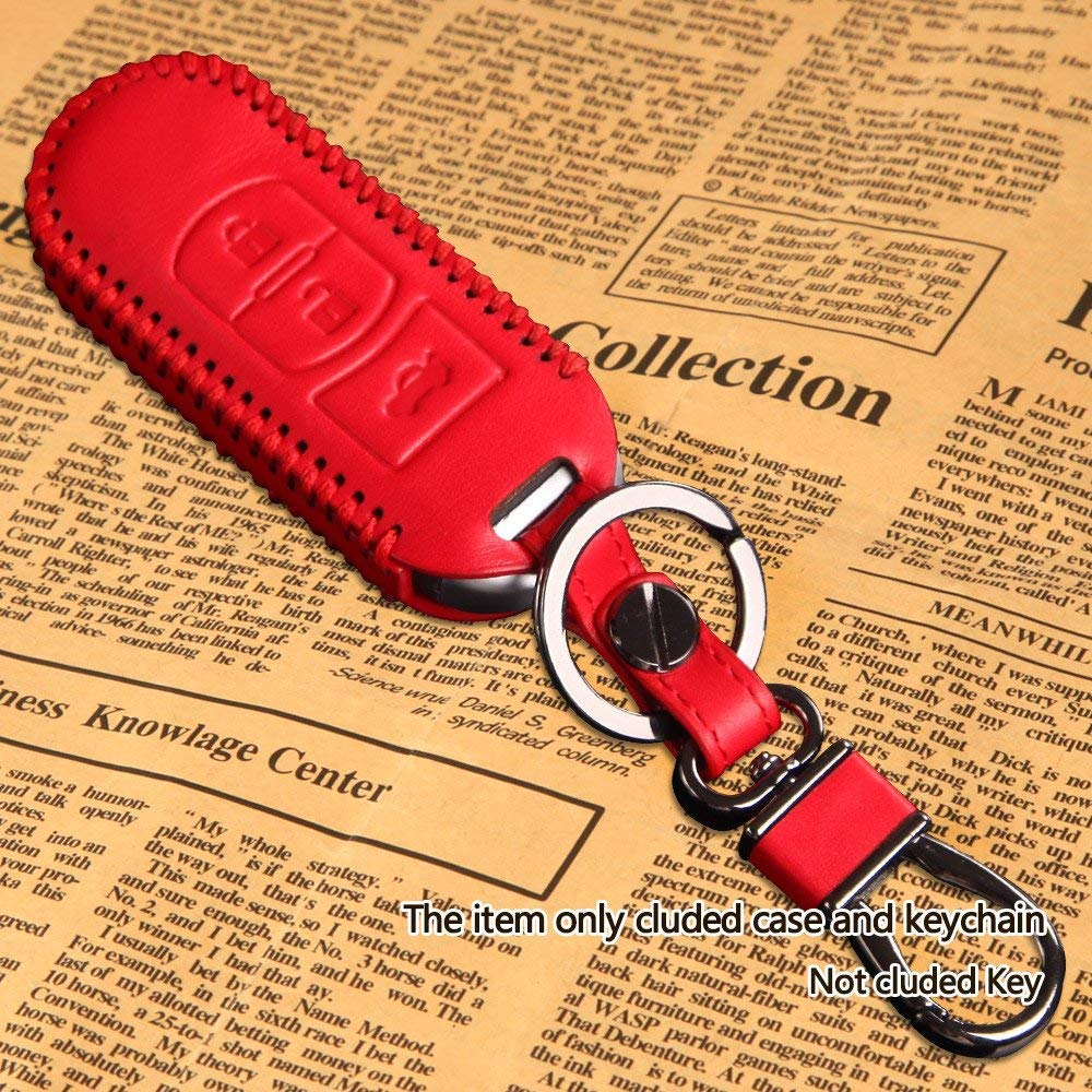 Leather Key Cover for Mazda CX-5 CX-4 M3 Axela Atenza 2014-2018 JIAKANUO Car Key Fob Remote Case red