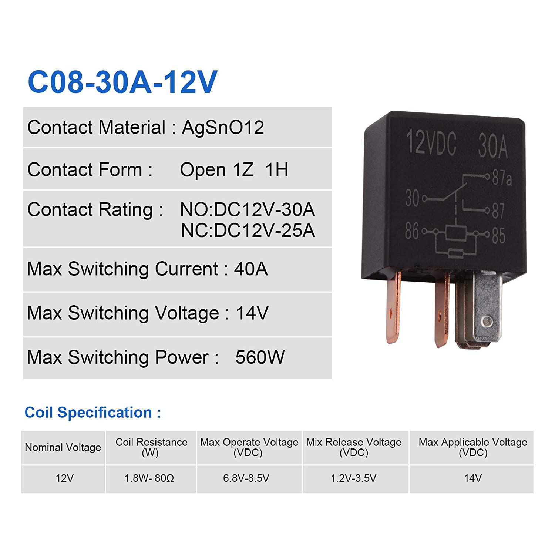 Paquete de 10 Ehdis/® Kit 30A SPDT Multiusos rel/é Heavy Duty rel/é est/ándar de 5 Pines 24 V DC