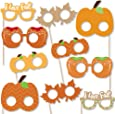 Big Dot of Happiness Pumpkin Patch Glasses and Masks - Paper Card Stock Fall, Halloween or Thanksgiving Party Photo Booth Props Kit - 10 Count