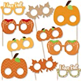 Big Dot of Happiness Pumpkin Patch Glasses and Masks - Paper Card Stock Fall, Halloween or Thanksgiving Party Photo…