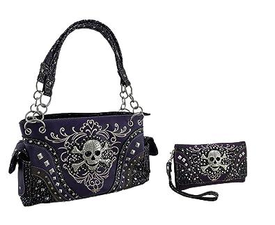 355f7f923f Purple Rhinestone Skull Metallic Trim Western Concealed Carry Purse Wallet  Set  Handbags  Amazon.com
