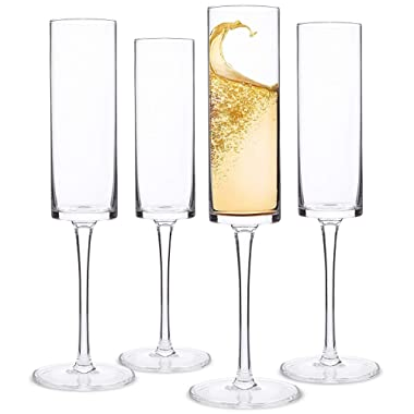 Champagne Flutes, Edge Champagne Glass Set of 4 - Modern & Elegant Gift for Women, Men, Wedding, Anniversary, Christmas, Birthday - 6oz, 100% Lead Free Crystal