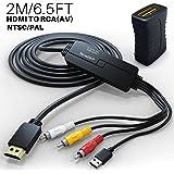 HDMI to RCA アダプター ケーブル HDMI to AV 変換 デジタルHDMI信号をアナログ3RCA/AVに変換 面倒な作業が不要 TV/HDTV/PC/DVD/PAL/NTSC/TV/VCR/DVD/自動車変換複合ケーブルに最適