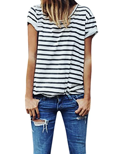 StyleDome Blusa Camiseta Casual Rayas Verano Playa Algodón Cuello Redondo Mangas Cortas para Mujer