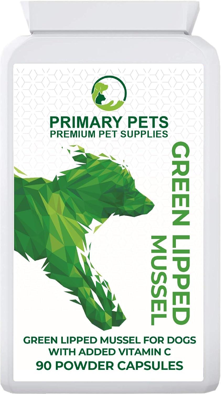 Primary Pets Premium Pet Supplies Mejillón Labios Verdes para Perros. 90 Cápsulas en Polvo. Ayuda Conjunta de mejillón de Labios Verdes de Nueva Zelanda