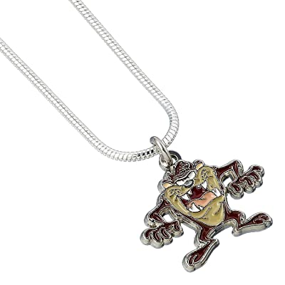 Looney Tunes Pendant & Necklace Tasmanian Devil (Silver Plated) Carat Shop: Toys & Games