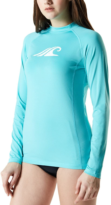 TSLA Women's UPF 50+ Rash Guard Long Sleeve, UV/Sun Protection Swim Shirts, Water Beach Surf Swimsuit Top