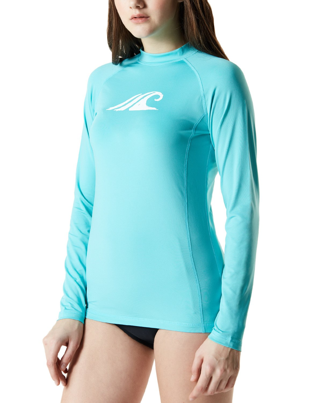 d397a4de859ef Amazon.com: TSLA Women's UPF 50+Swim Shirt Rashguard Long Sleeve FSR  Series: Clothing