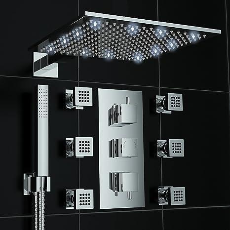 Grifo con termostato Oculto de ducha masaje Jet 300 mm luces LED de color blanco juego de: Amazon.es: Hogar