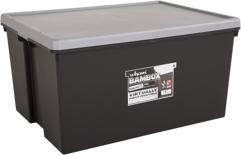 bambox 150 L 80 x 60 x 42 cm negro cargas pesadas Caja con tapa resistente y Soporta • 150L cargas pesadas transporte Caja apilable Caja Plástico Plástico: Amazon.es: Bricolaje y herramientas