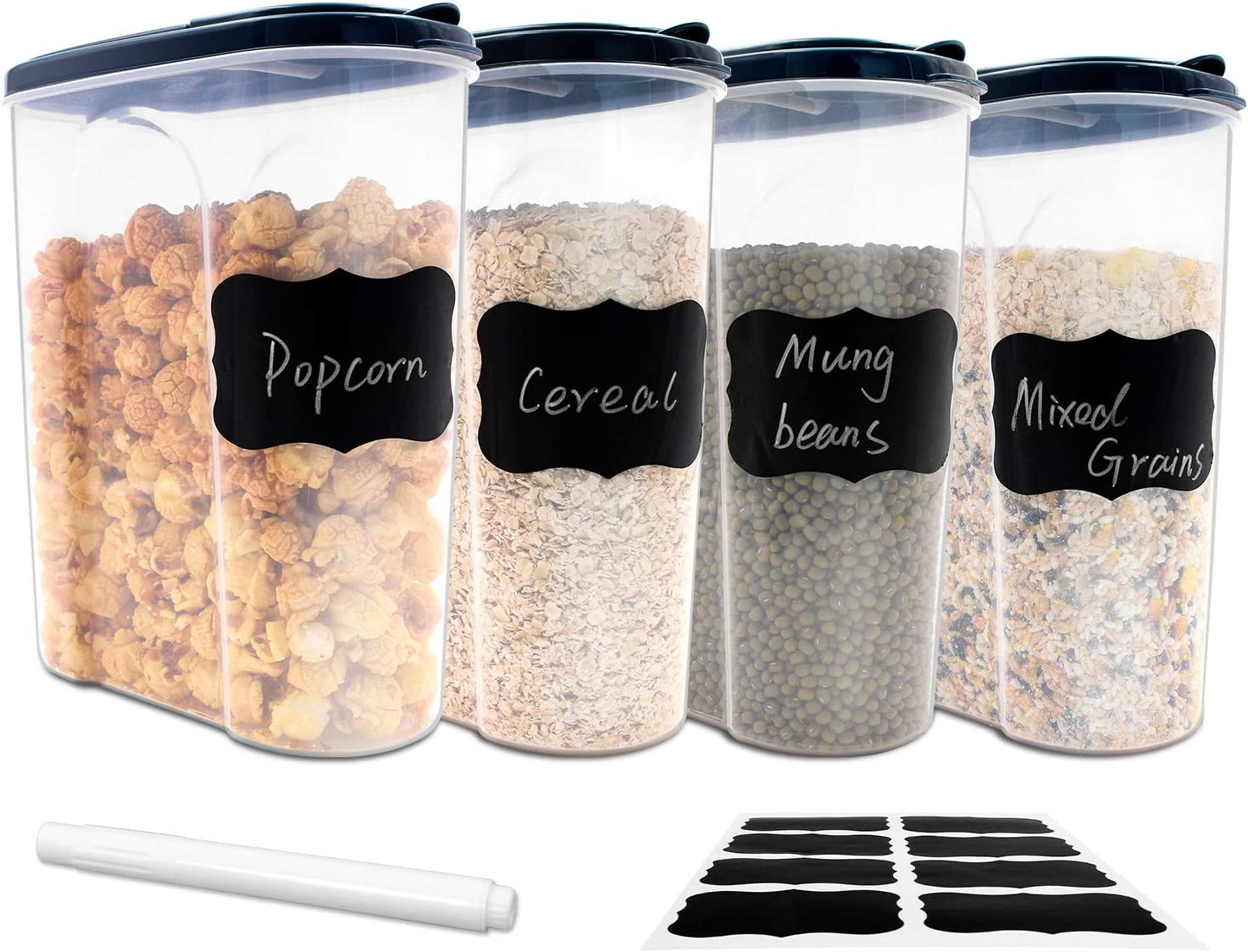 Large Tall Airtight Food Storage Containers, Rayze 4 PACK Plastic Airtight Kitchen & Pantry Organization, Ideal for Flour & Sugar - BPA-Free - Plastic Canisters with Labels