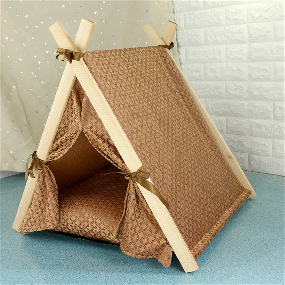 Brown Zsypet Small Dog Cat House Pet Tent Brown And Purple Rest Bed Detachable Washable Cushion Mat Puppy Kitten Cave Kennel Pillow, Brown