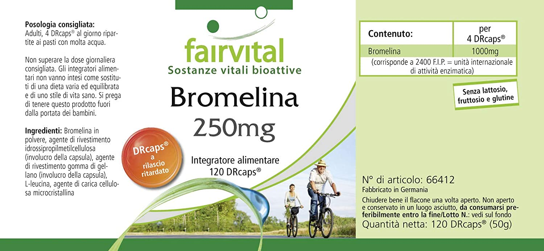 Bromelina suplemento 250mg - VEGANO - Dosis elevada - 120 Cápsulas ...