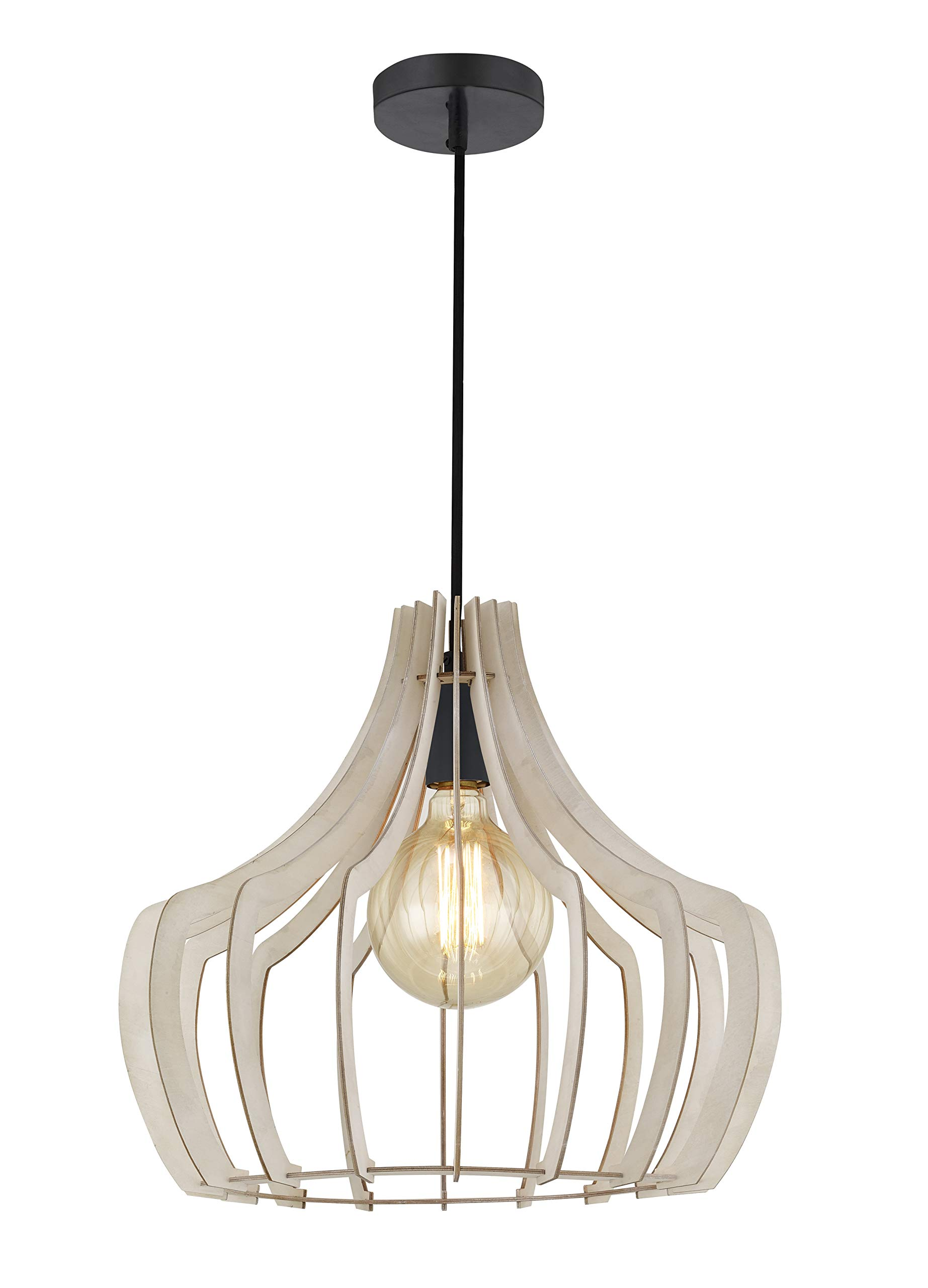 Wooden Hanging Lamp Indoor Wood Pendant Lighting Modern Farmhouse Chandeliers with Cord Ceiling Lamp Light Fixture for Dining Room,Kitchen, Bedrooms(White)