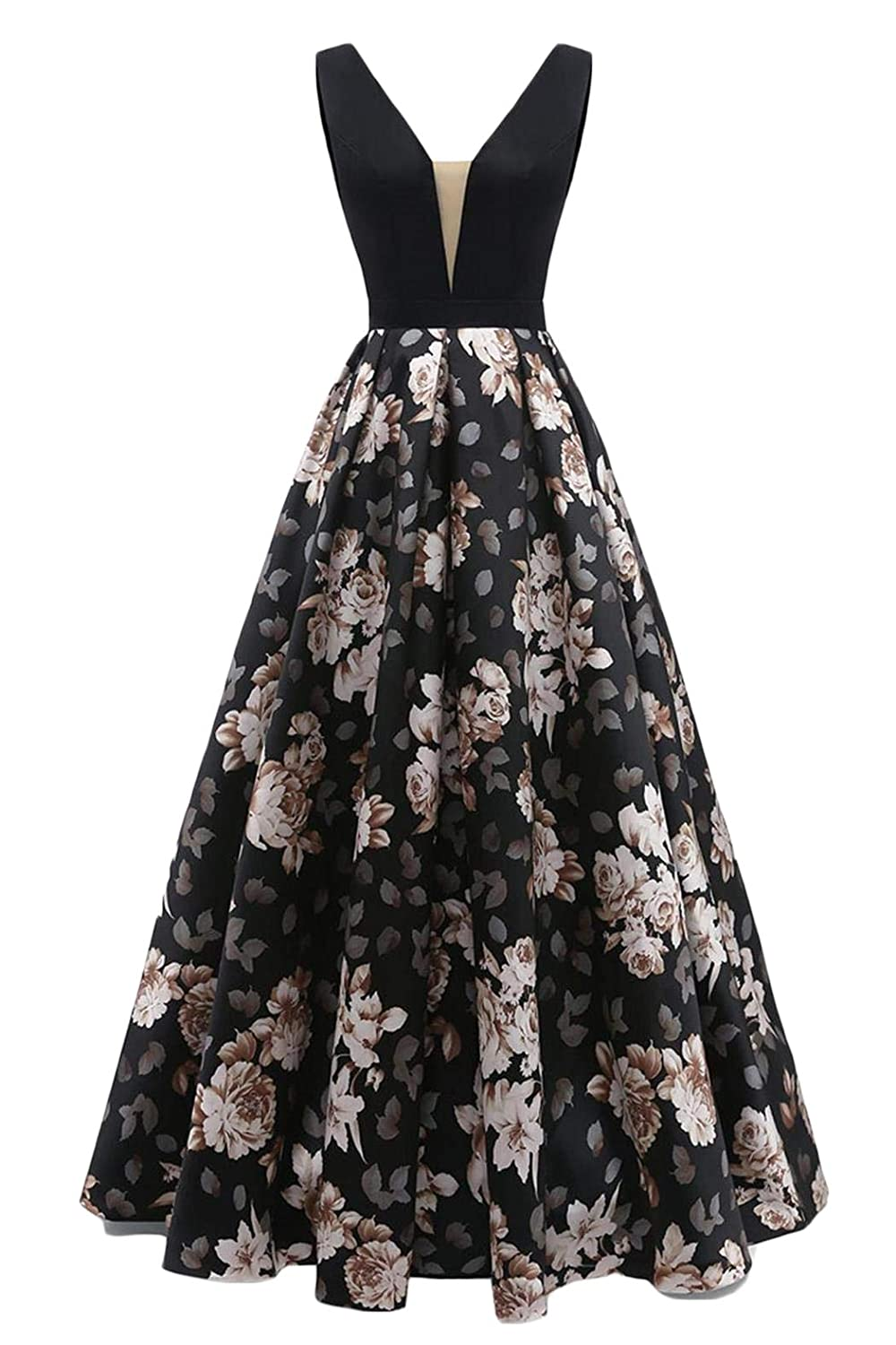 Black 2 Dydsz Long Evening Prom Dresses for Women Formal Gown with Pockets Print Floral D295