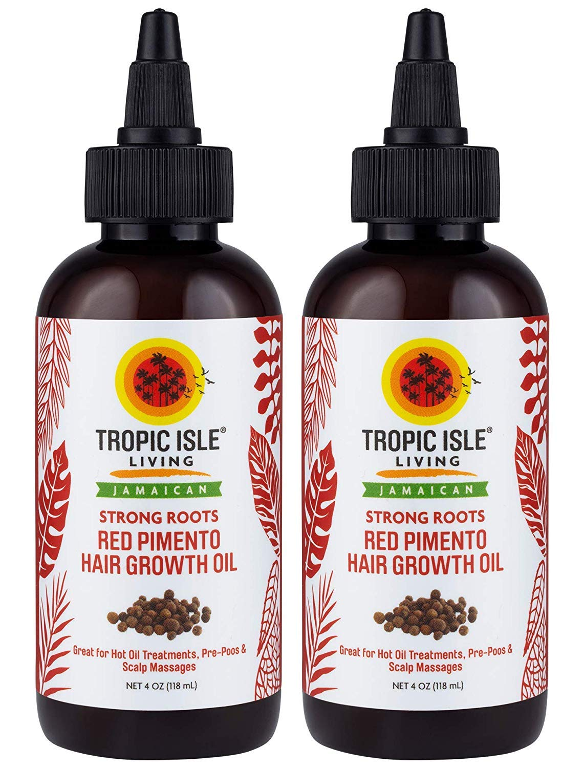 Tropic Isle Living Jamaican Strong Roots Red Pimento Hair Growth Oil 4 oz (Pack of 2)