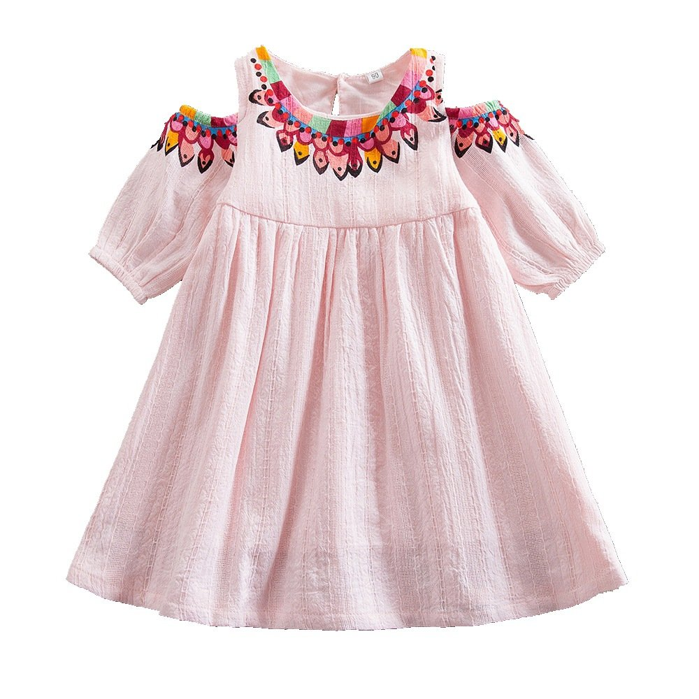 Juxinsu Cotton Girl Middle Sleeve Dress Beach Short Sleeve Dresses for Summer Baby Kids Clothes 1-6 Years SH609 (6t, Pink)